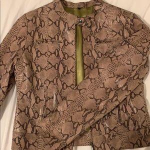 Jackets & Blazers - Genuine leather snakeskin designed jacket